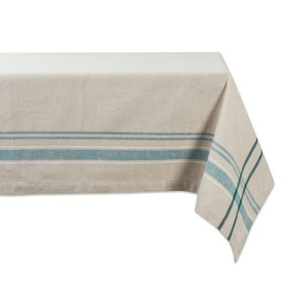 Madeleine Teal Stripe 84 Tablecloth With Images Striped Tablecloths French Tablecloths Design Imports