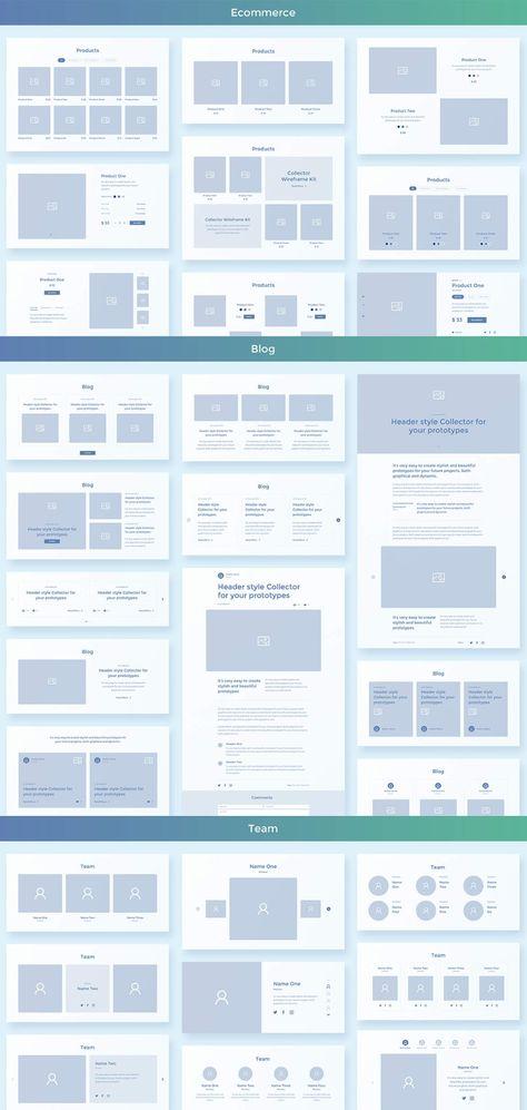 Collector Web Wireframe UI Kit for Adobe XD - Evatheme