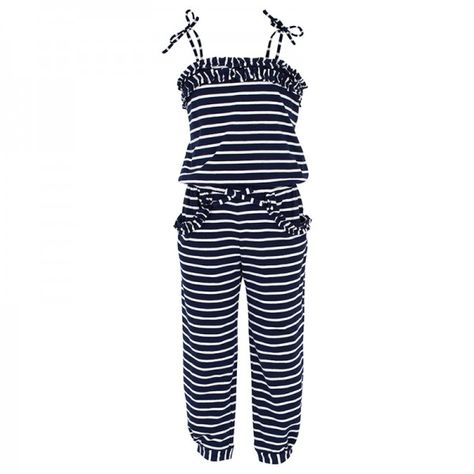 Kate Mack - Biscotti Bow Navy and Stripe Jumpsuit at alexandalexa.com