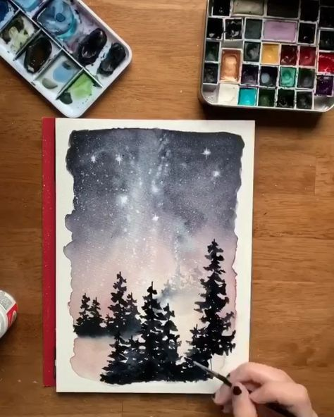 Sunset gradients + dazzling Milky Way galaxies + a winter forest wonderland = basically a painting of my dreams 😍 Loved using my Milky Way night sky techniques to paint this magical frosty scene! Check out my new class to learn how 😘