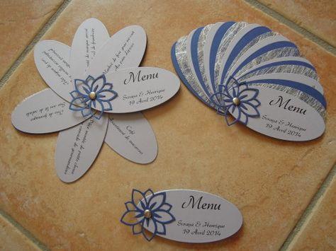 """Bonjour à tous et à toutes ! Voici les Menus réalisés pour le Mariage de Soraya et Henrique qui aura lieu le 19 avril 2014. Ce sont des menus """"Eventail"""" dans les couleurs Gris, Argent et Bleu Roi. Vue d'ensemble Bonne journée à tous et à toutes !"""