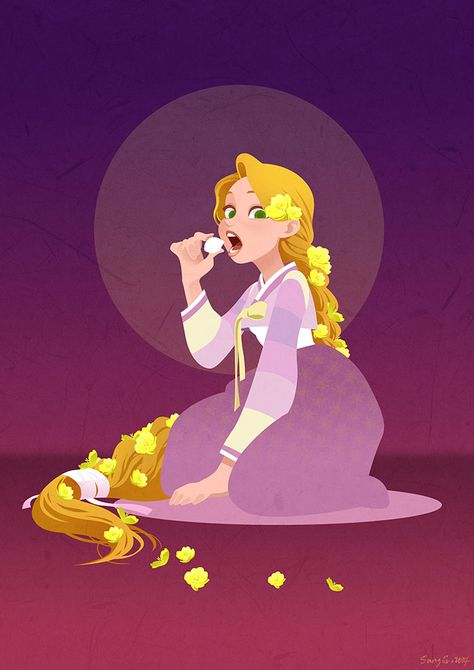 Disney Rapunzel with Korean traditional clothes named Hanbok.