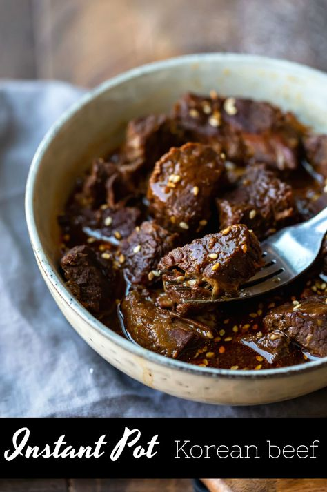 Instant Pot Korean Beef is tender, flavorful Korean beef made in a pressure cooker. Recipe includes explanation of gochujang and gochujang substitution. #InstantPot #korean #beef #Koreanbeef #dinner #easy #recipe #gochujang #meal #weeknight #ihearteating