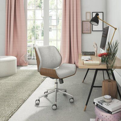 The Elle d cor ophelia bentwood task chair allows you to make a statement without saying a word. The fearlessly feminine colors of the fabric seat settle in sea Home Office Chairs, Home Office Furniture, Home Office Decor, Desk Chairs, Pink Office Decor, Bright Office, Apartment Office, Cozy Apartment, Room Chairs