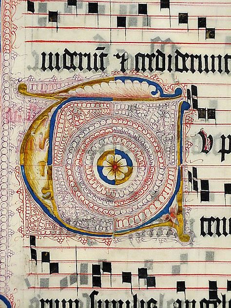 Manuscript Leaf from an Antiphonary    Date:      second quarter 15th century  Geography:      Made in, probably Mainz, Germany  Culture:      German  Medium:      Parchment, tempera, ink, metal leaf  Dimensions:      20 5/16 x 15 1/8 in. (51.6 x 38.4 cm)  Classification:      Manuscripts & Illuminations  Credit Line:      Gift of Miss Alice M. Dike, in memory of her father, Henry A. Dike, 1928
