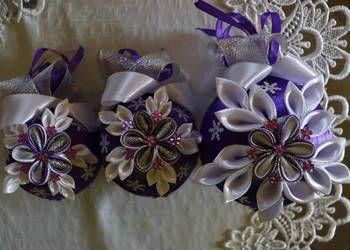 Cudny Komplet Bombek Bozonarodzeniowych Kanzashi Rekodzielo Floral Floral Rings Flowers