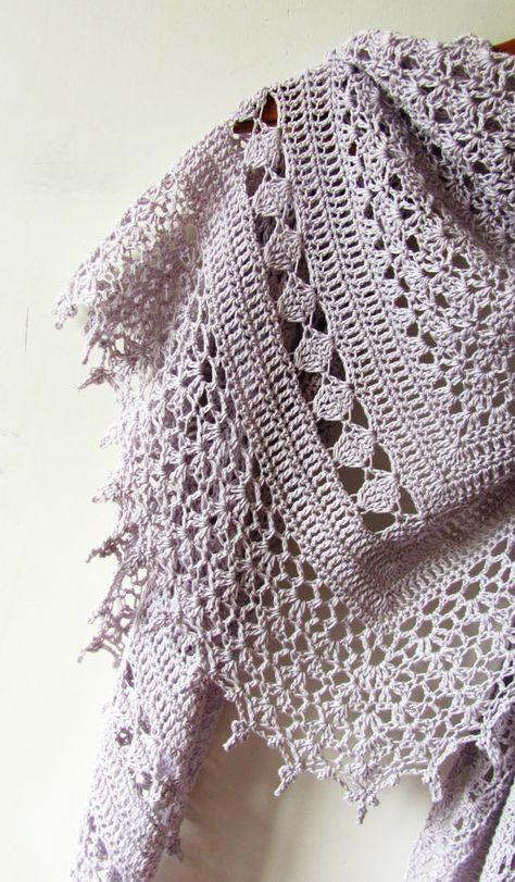 Mauve Twilight Crocheted Shawl Handmade Accessory Made