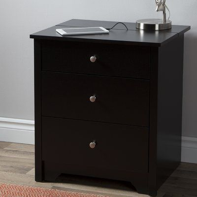 South Shore Vito 2 Drawer Nightstand Colour Black Nightstand With Charging Station Bedroom Night Stands 2 Drawer Nightstand