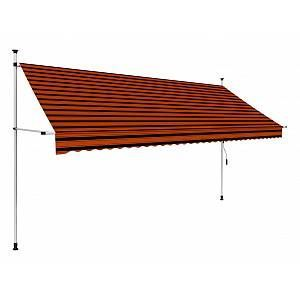 Hommoo Manual Retractable Awning 350 Cm Orange And Brown In 2020 Retractable Awning Patio Awning Awning