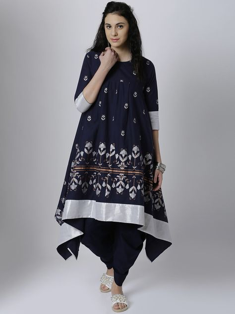 30c13276f86 Vishudh Women Navy Blue   Silver-Toned Printed Anarkali Kurta  navy  blue   printed
