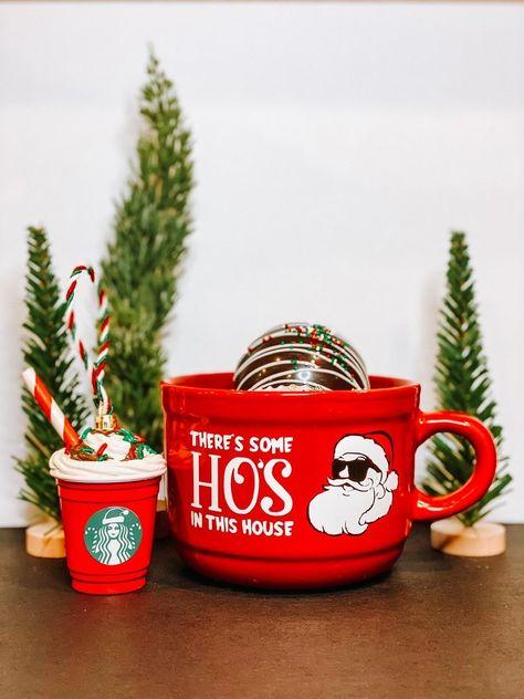 Holiday Bundle with holiday themed drink ware along with themed coffee ornament.  #christmasbundle #holidaybundle #christmasgiftset #holidaygiftset #oversizedmug #hosinthishouse #santahos #santahomug #christmasornament #giftset #coffeeornament #coffeetheme #coffeethemedgift #handmade