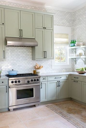 According To Pinterest This Shade Is 2018 S New Neutral Green Kitchen Cabinets New Kitchen Cabinets Light Green Kitchen