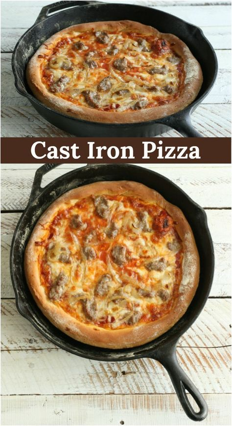 homemade pizza dough baked in a cast iron skillet.Buttery, homemade pizza dough baked in a cast iron skillet. Lazy cast iron skillet deep dish pizza More Healthy three ingredient pizza dough recipe only on Cristi. Cast Iron Skillet Cooking, Iron Skillet Recipes, Cast Iron Recipes, Cast Iron Pizza Recipe, Cast Iron Bread, Cooking With Cast Iron, Chicken Cast Iron Skillet, Cast Iron Chicken Recipes, Recipe Chicken