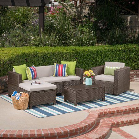 Cascada Outdoor 6 Piece Wicker L Shaped Sectional Sofa Set With Cushions Brown Ceramic Grey Outdoor Furniture Sets Sofa Set Best Outdoor Furniture