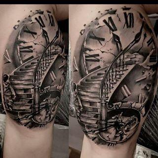 Résultat de recherche dimages pour stairs to clock tattoo