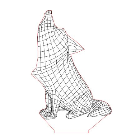 Howling Dog 3d Illusion Lamp Plan Vector File For Laser And Cnc 3bee Studio 3d Illusion Lamp 3d Illusions Illusions