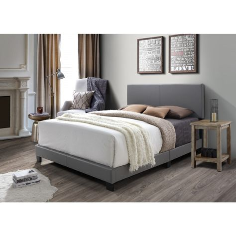 Dg Casa Kelly Grey Faux Leather Queen Bed Overstock Com Shopping