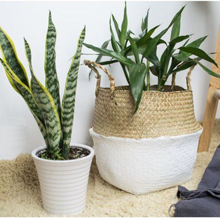 Home Plant Basket Wicker Baskets Storage Hanging Plants