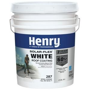 Henry Henry 287 Solar Flex Acrylic Reflective Elastomeric White Roof Coating 4 75 Gallon He287sf871 The Home Depot Elastomeric Roof Coating Roof Coating Roof Sealant