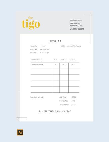 Free Restaurant Invoice Invoice Template Templates Word Doc