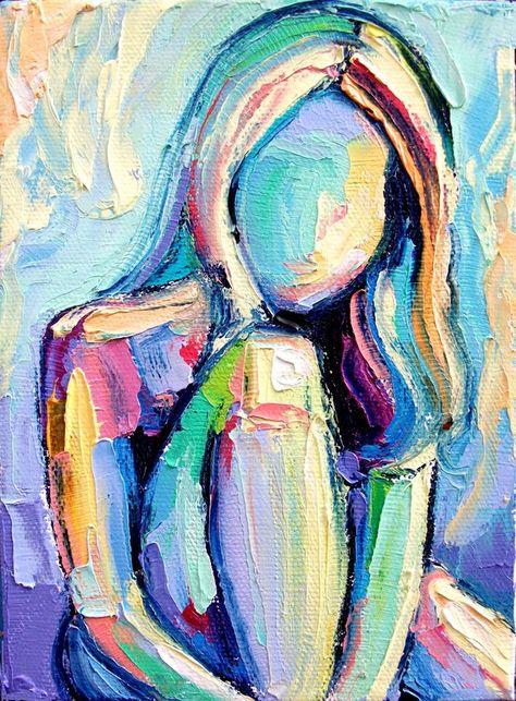 Abstract Nude Art Print - Figure féminine dans les tons bleus 18x24 reproduction par Aja - Femme 101