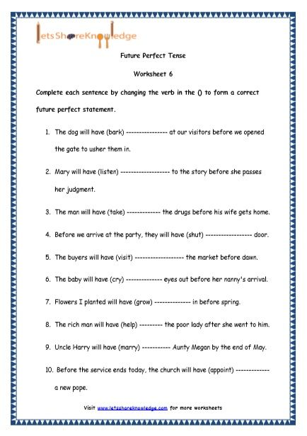 Grade 4 English Resources Printable Worksheets Topic Future Perfect Tenses Future Perfect Perfect Tense English Lesson Plans English grammar worksheets for grade 4