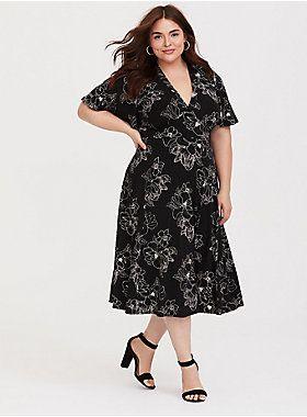 Black Floral Jersey Knit Midi Dress | Wrap dress midi, Plus