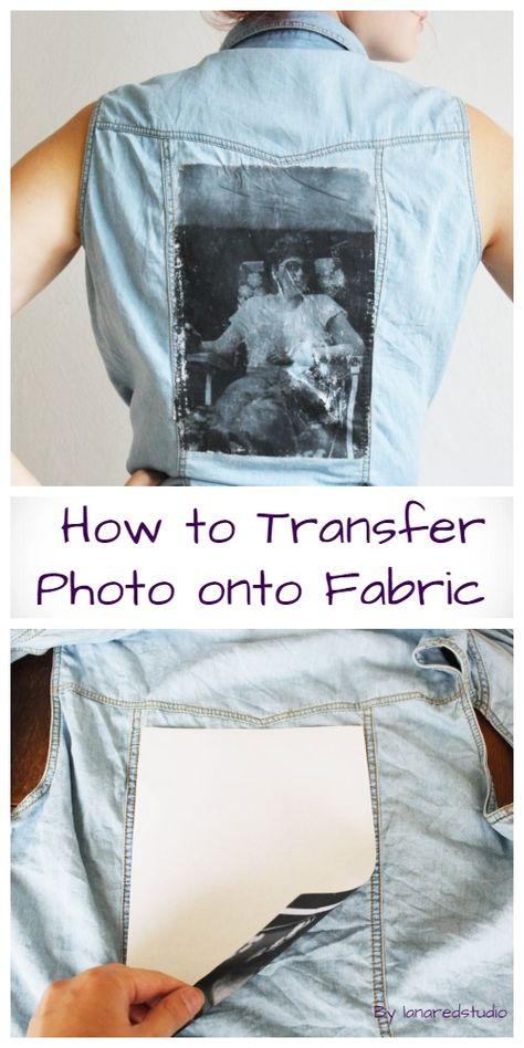 How to Transfer Photo onto Fabric DIY Tutorial Diy Print On Fabric, Fabric Art, Printing On Fabric, Fabric Painting, Diy Shirt Printing, Photo Transfer To Paper, How To Make Photo, Diy Clothes And Shoes, Photo Quilts