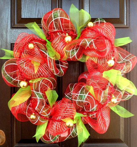 Cheerful Deco Mesh Christmas Wreath by WreathUnique on Etsy