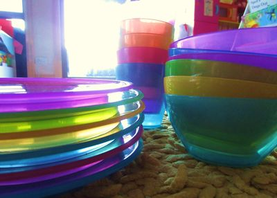 """Joel showed off some beautifully colored plastics for any summer event. """"We do it rainbow here in California."""""""