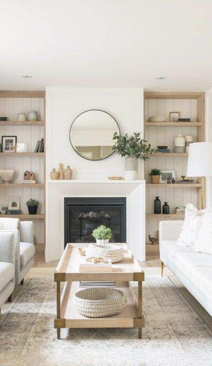 Copy Cat Chic Room Redo Tranquil Living Room Copycatchic Neutral Living Room Living Room Shelves Living Room With Fireplace