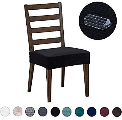 Amazon Com Dining Chair Cover Water Repellent Knitted Jacquard High Stretch Black Dining Chair 4 Pack Home Kitchen Dining Room Chair Covers Dining Chair Covers Dining Room Chairs