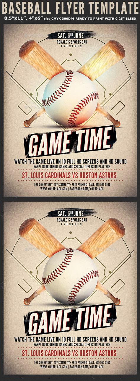 Baseball Game Flyer Template by Hotpin on @creativework247 Flyer - baseball flyer