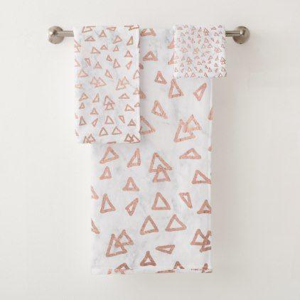 Cool Rose Gold Triangles Geometric White Marble Bath Towel Set