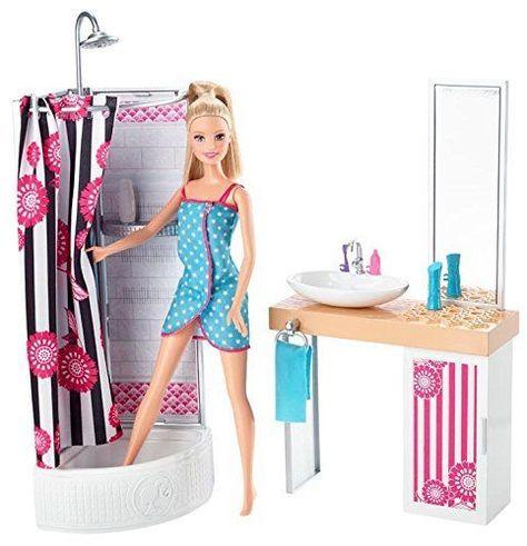Barbie Dolls Bathroom Furniture Girl Play Set Doll House Dollhouse Toy Kids Gift #Barbie