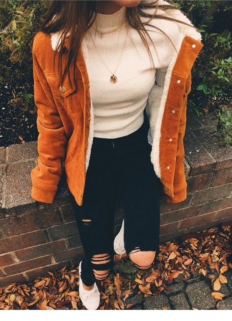 Perfect fall outfit with a nice shearling jacket. Visit Daily Dress Me at dailydressme.com for more inspiration                      women's fashion 2018, fall fashion, causal outfits, school fashion, winter fashion, women's blouses, sweaters, denim jacket, ripped jeans, distressed jeans,