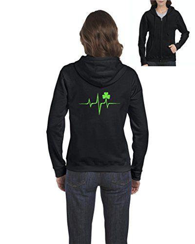Four Leaf Clover Shamrock St Patricks Day Irish Birthday Xmas Gift Womens Sweaters Zip Up Frauen Hoodie Kapuzenpullover Und Angelbekleidung