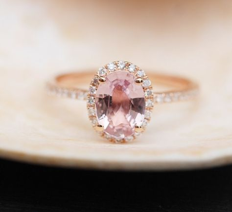 Peach Sapphire Ring, Peach Sapphire Engagement Ring, Peach Pink Sapphire Ring, Oval Cut Engagement Ring, 14k Rose Gold