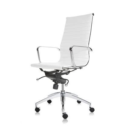 Bureaustoel Wit Design.24designs Bureaustoel Melbourne Leer Hoge Rugleuning Wit