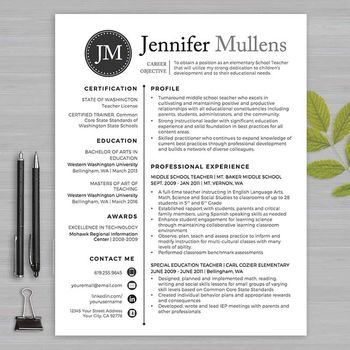 Teacher resume template for Word and Pages (1, 2 and 3 page resume