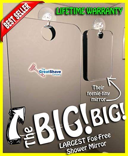Extra Large Fog Free Shower Shave Mirror Jumbo Fogless Shaving