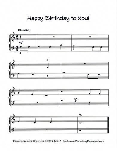 Happy Birthday To You Free Piano Sheet Music To Print