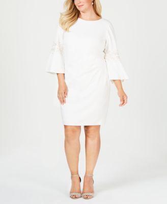 Plus Size Ruched Beaded Sheath Dress | macys.com | White ...