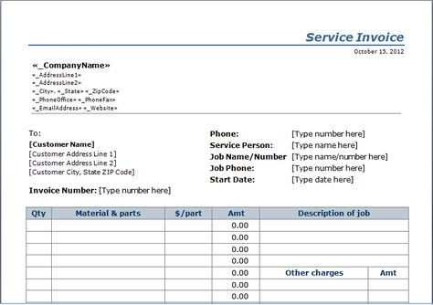 Professional Services Invoice Template Excel Invoice Templates - services rendered invoice