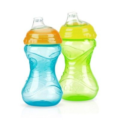 Nuby Cup 2pk Clik It Soft Spout 10oz Sippy Cups Assorted Colors Sippy Cup Nuby Sippy