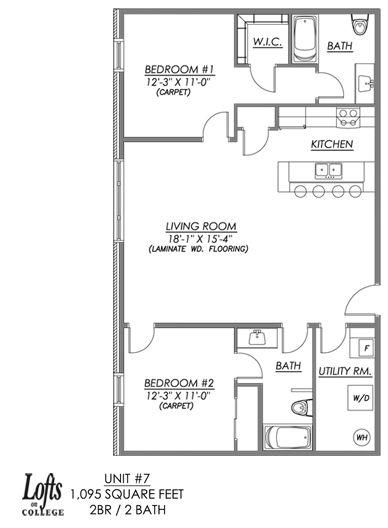 McCallum Glen Plan 525 Floor Plan - UTD Apartment RentalsPlan 525 ...