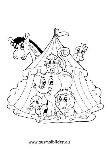 ausmalbild tiere im zirkus zum kostenlosen ausdrucken und