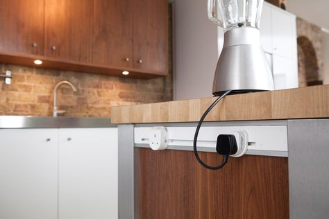Mainline Power sockets installed into kitchen island kitchen - italienische kuchen mobelserien arclinea