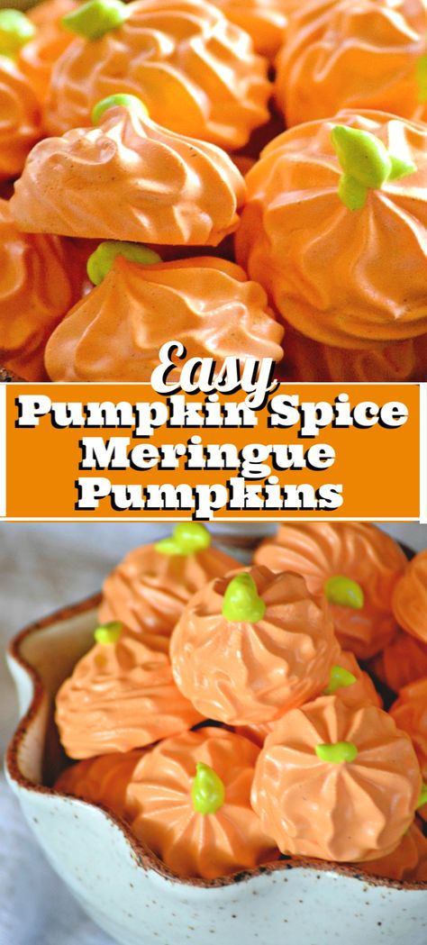 These easy Pumpkin Spice Meringue Pumpkins will be a cute addition to your Halloween and Thanksgiving dessert table. Lightly flavored with pumpkin spice, these easy meringue cookies are a light and airy sweet treat. Thanksgiving Recipes, Fall Recipes, Holiday Recipes, Vegan Recipes, Cooking Recipes, Holiday Foods, Easy Meringue Cookies, Meringue Cookie Recipe, Cookie Flavors