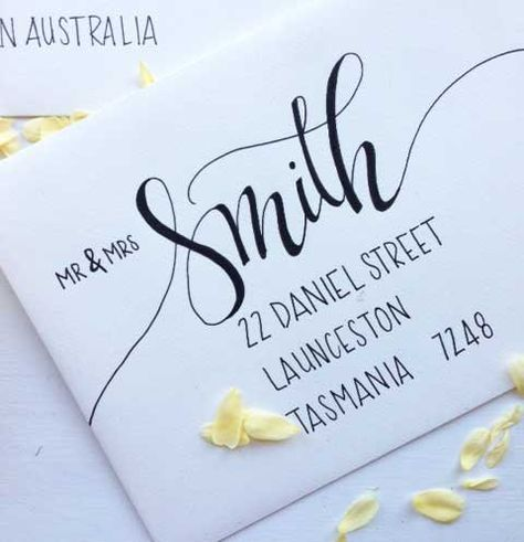 Announce your big day with elegance and style with custom hand lettered wedding envelopes. Hand lettered by me in my modern calligraphy style